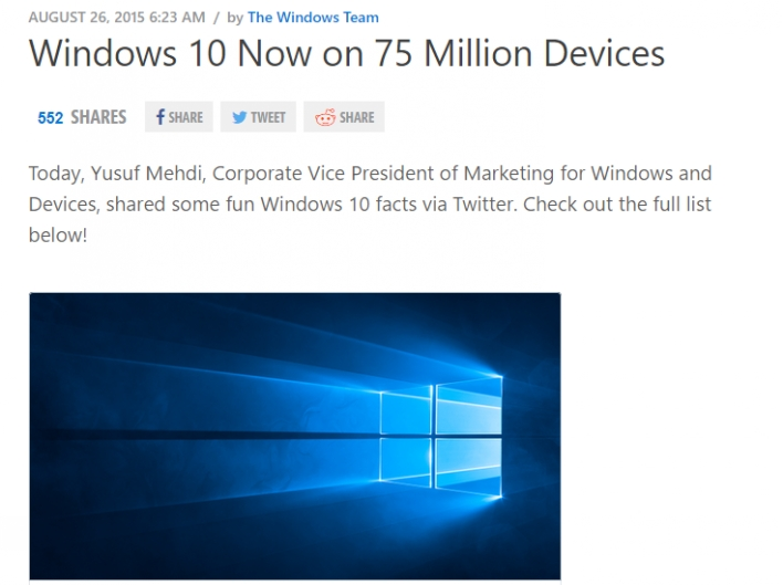 Windows 10 75 Million Times