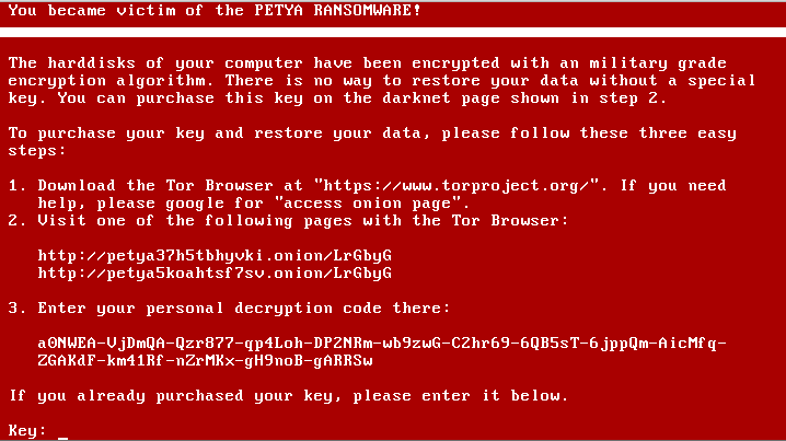 Petya ransomware spread rapidly through networks using Microsoft Windows.