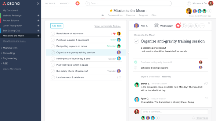 Asana project management software